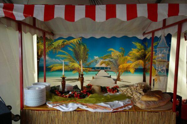 Beachparty Bambustheke Thekenelement Präsentationsbereich Vermietung