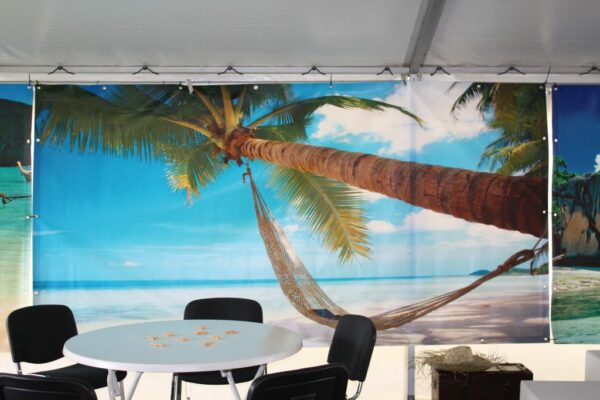 Beachparty Dekovorhang Hängematte blau Gestaltungselement Südseefeier Buchung