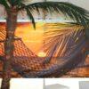 Beachparty Dekovorhang Hängematte gelb Wandmotiv Miete Sonnenuntergang