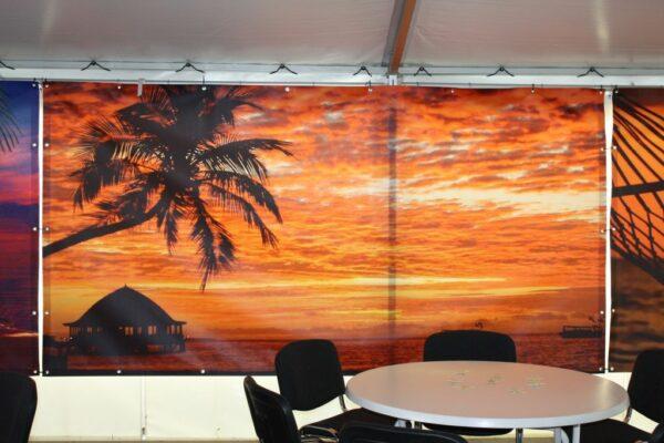 Beachparty Dekovorhang Sunset 1 Wandbild Sonnenuntergang Vermietung Bilderleinwand