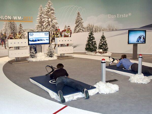 Biathlonsimulator Doppelmodul mieten ohne Crosstrainer Messedesign