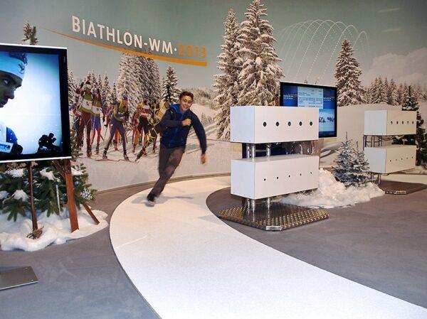 Biathlonsimulator Doppelmodul mieten ohne Crosstrainer Messestand