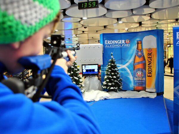 Biathlonsimulator Einzelmodul Crosstrainer mieten Branding Kundenlogo Software
