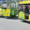 City Bahn Jumbo grün gelb Wegebahn mieten Messerundfahrt VIP Shuttle Sigmar Gabriel