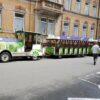 City Bahn Jumbo grün weiß Wegebahn mieten Milka Schoko-Express