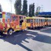 City Bahn Jumbo rot gelb Messebahn mieten Betriebsbesichtigung Sinalco Express