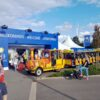 City Bahn Jumbo rot gelb Messebahn mieten Werksführung 60 Jahre Gauselmann