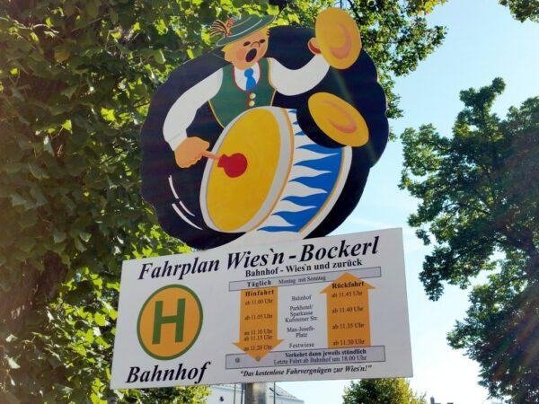 City Bahn Jumbo rot gelb mieten Fahrplan Wiesn Bockerl Rosenheim