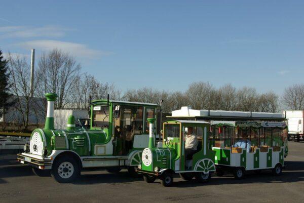 City Bahn Mini gruen weiß Kindereisenbahn Vermietung