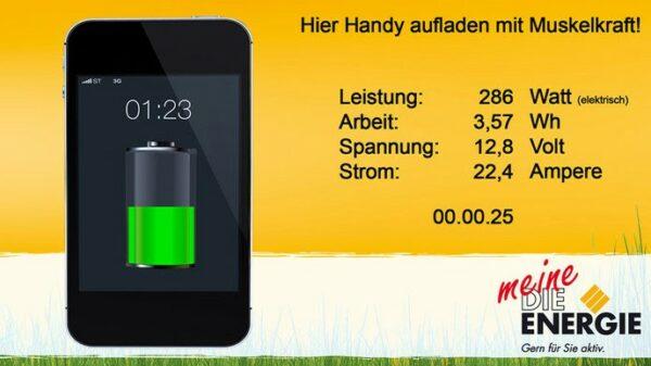 Energy Bike Screen Energiemenge zum Handy aufladen