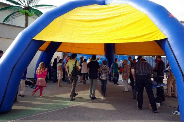 Event Dome Spiderzelt blau gelb