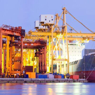 Hafenanlage Dekovorhang Hamburger Hafen