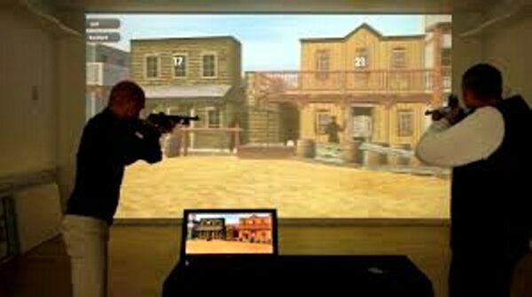 Laser Shooting HD Schießbude mit Lasergewehren