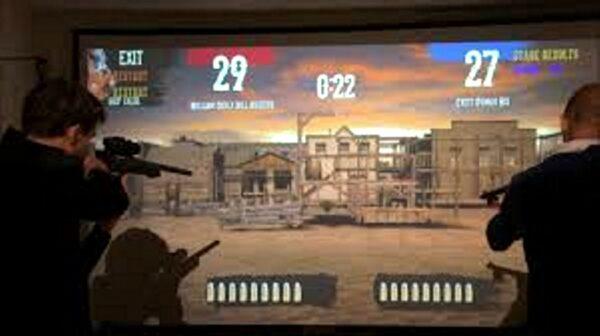 Laser Shooting HD Western Schießsbude mit Lasergewehr