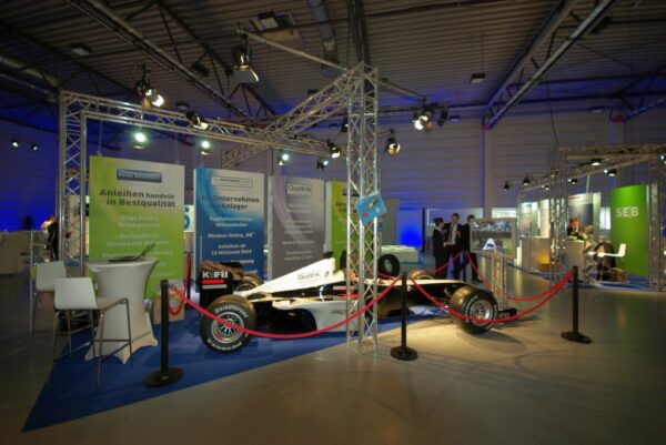 Personenleitsystem Racing mieten - Absperrung für Formel 1 Simulator auf Messestand