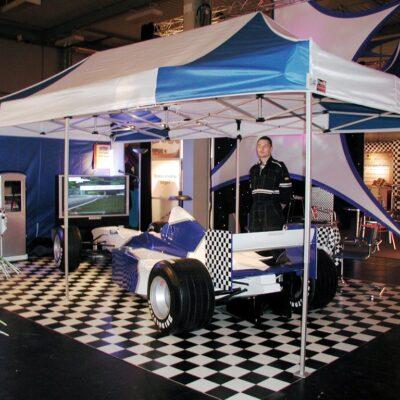 Promotionzelt mieten F1 Simulator blau weiss