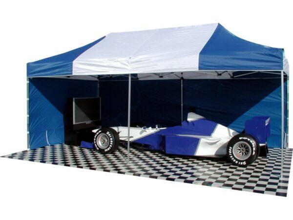 Promotionzelt mieten mit Seitenteilen blau-weiss 6x3m