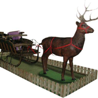 Rentier mit Schlitten Dekoration Nikolaus Fotoaktion Weihnachtsmann