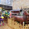 Rentier mit Schlitten Dekoration antiker Pferdeschlitten