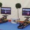 Rudersimulator mieten Doppelmodul Messestand kompakt Ausleger