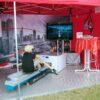 Rudersimulator mieten Einzelmodul im Zelt mit Auslegern