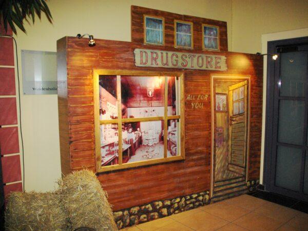 Westernparty Dekowand Drugstore mieten Westerndeko